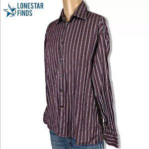 Canali Plum Striped Italy Dress Shirt Sz L DD26